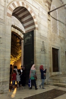 Entering the Blue Mosque for prayers