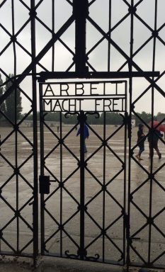 The gate entrance to Dachau concentration camp. The text reads: Work is Freedom.